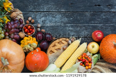 Happy Thanksgiving day concept - traditional holiday food with pumpkins on old wooden  #1191929578