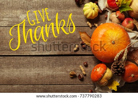 Happy thanksgiving day display on wooden background #737790283