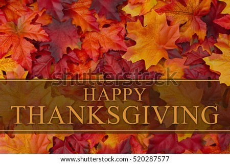 Happy Thanksgiving Greeting, Some fall leaves with text Happy Thanksgiving