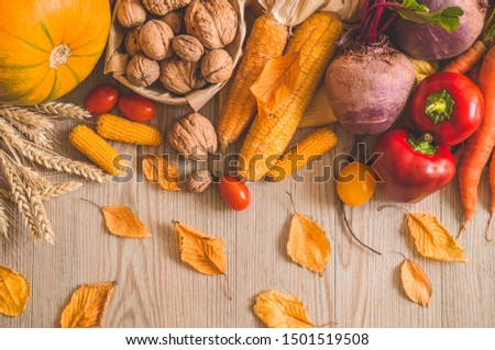 Happy Thanksgiving. Harvest, Autumn. Still life with Thanksgiving concept. Panoramic collection of fresh healthy fruits and vegetables.   #1501519508