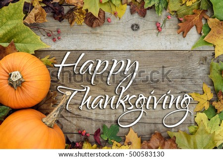 Happy Thanksgiving Holiday Card - Shutterstock ID 500583130