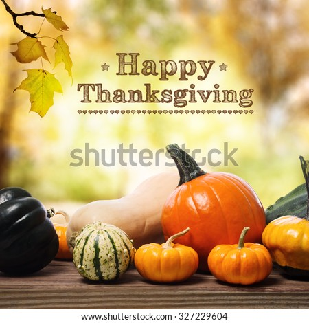 Happy Thanksgiving message with assorted pumpkins on rustic wooden boards