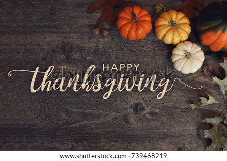 Happy Thanksgiving text with pumpkins and leaves over dark wood background #739468219