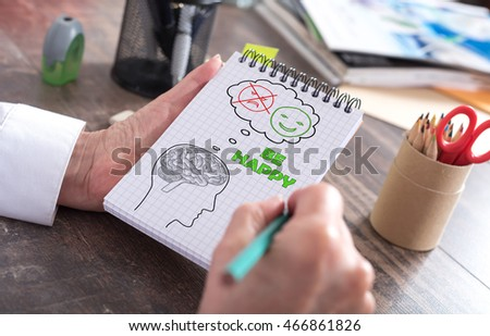 Happy thoughts concept drawn on a notepad