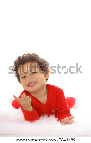happy toddler pointing isolated