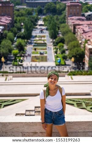 happy tourist visiting Yerevan city, the capital of Armenia, Caucasus #1553199263
