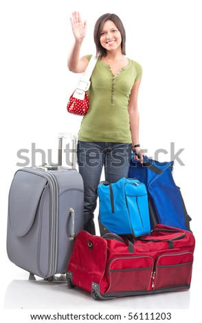 Happy tourist woman . Isolated over white background