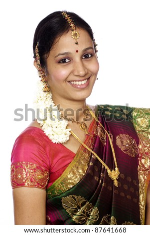 Happy traditional Indian young woman