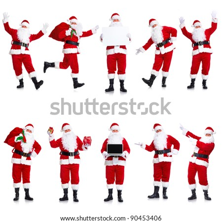 Happy traditional Santa Claus. Christmas. Isolated on white background.