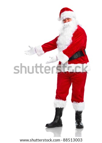 Happy traditional Santa Claus showing a copyspace. Christmas. Isolated on white background.