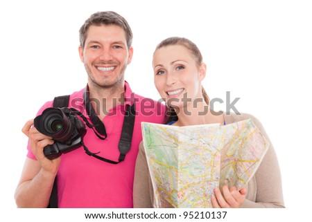 happy travel couple