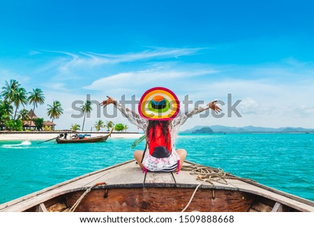 Happy traveler woman relaxing on boat Joy fun scenic tropical beach Mook island, Attraction place tourist travel Phuket Trang Thailand summer holiday vacation trips, Tourism beautiful destination Asia
