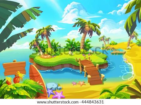 stock photo happy tropical sand beach coast video game digital cg artwork concept illustration realistic 444843631 - Каталог — Фотообои «Для детской»