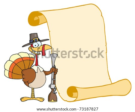 Happy Turkey With Pilgrim Hat and Musket And Scroll