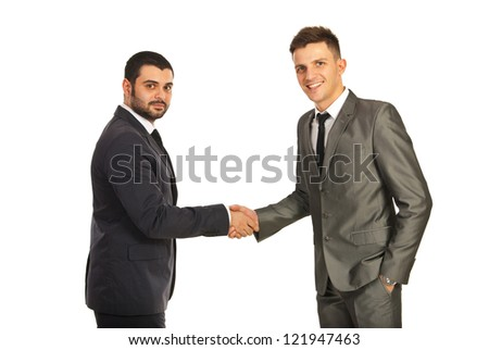 Happy two business men giving hand shake isolated on white background