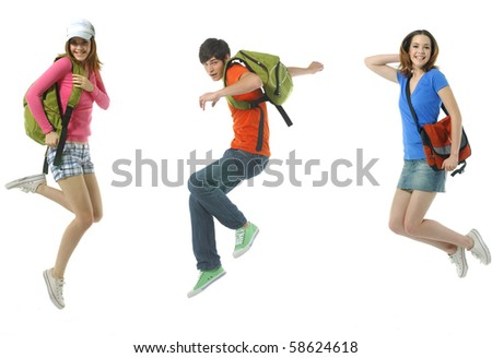 Happy two young woman and boy jumping - stock photo