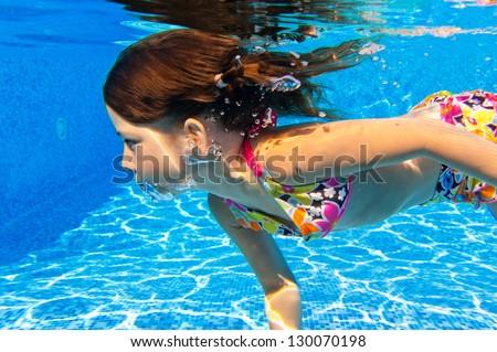 Happy underwater child in swimming pool beautiful girl - Swimming pool girl christmas vacation ...