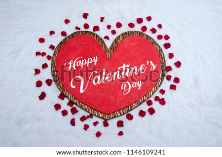 Happy valentine day, Heart Background, Valentine day Background, Heart & Rose Petals on fur fabric #1146109241