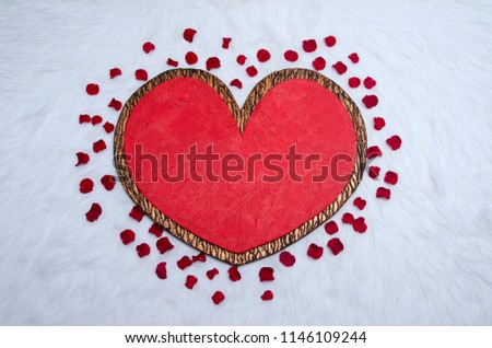 Happy valentine day, Heart Background, Valentine day Background, Heart & Rose Petals on fur fabric #1146109244