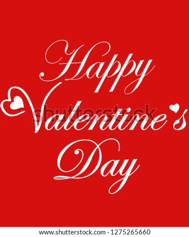 Happy Valentine Day Special With White Heart Red Background #1275265660