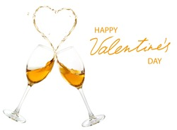 Happy Valentine's Day and two glasses of wine that spill out and form a stylized heart.