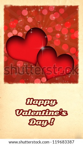 Happy Valentine's day card/Retro Happy Valentine's day card with two red hearts and burst behind them, on old paper like background
