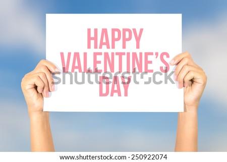 Happy valentine\'s day card with blur sky background, Happy Valentine\'s Day concept.