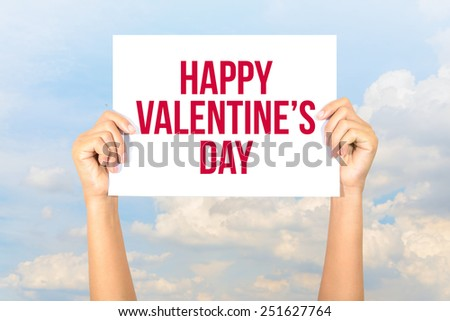 Happy valentine\'s day card with sky background, Happy Valentine\'s Day concept.
