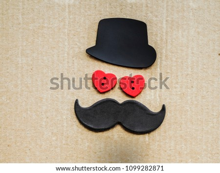 Happy Valentine's Day concept with tie, bow, hat and two red heart with facial expressions. amour lie on cartoon background. male personage. Valentines day card hearts. i love you #1099282871