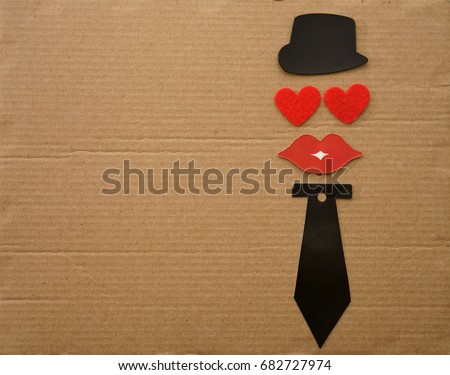 Happy Valentine's Day concept with tie, bow, lips hat and two red heart with facial expressions. amour lie on cartoon background. male personage. Valentines day card hearts. i love you #682727974