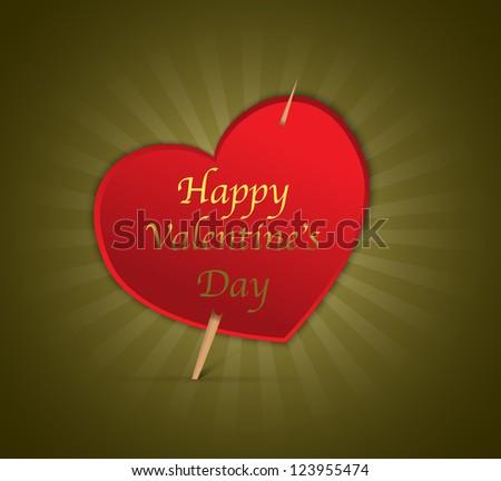 Happy Valentine's Day heart on green shiny background - stock photo