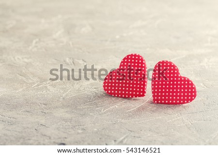 Happy Valentine's day red hearts on gray background #543146521