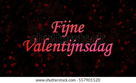 Happy Valentine's Day text in Dutch 'Fijne Valentijnsdag' on black background with hearts and roses Stockfoto ©
