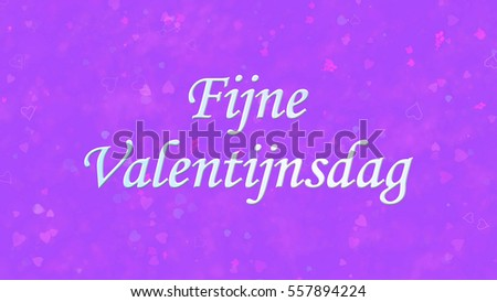 Happy Valentine's Day text in Dutch 'Fijne Valentijnsdag' on purple background with hearts and roses Stockfoto ©