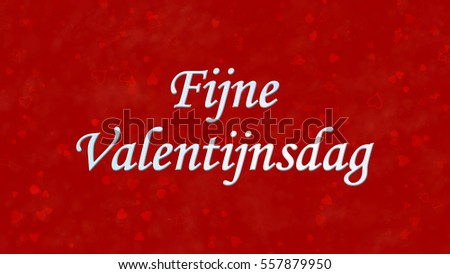 Happy Valentine's Day text in Dutch 'Fijne Valentijnsdag' on red background with hearts and roses Stockfoto ©