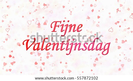 Happy Valentine's Day text in Dutch 'Fijne Valentijnsdag' on white background with hearts and roses Stockfoto ©