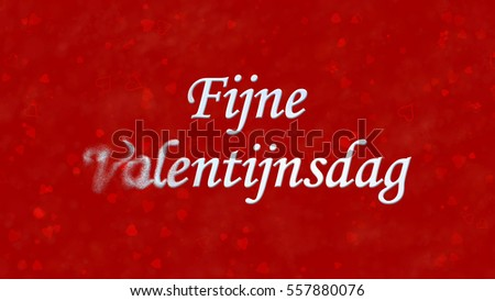 Happy Valentine's Day text in Dutch 'Fijne Valentijnsdag' turns to dust horizontally from left on red background with hearts and roses Stockfoto ©