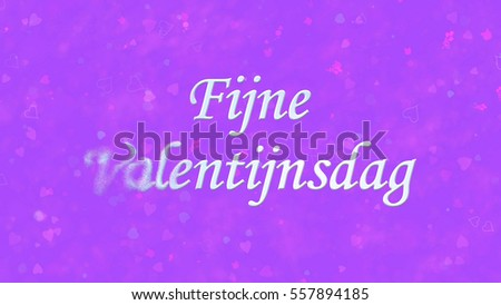 Happy Valentine's Day text in Dutch 'Fijne Valentijnsdag' turns to dust horizontally from left on purple background with hearts and roses Stockfoto ©
