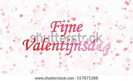 Happy Valentine's Day text in Dutch 'Fijne Valentijnsdag' turns to dust horizontally from right with moving stripes on white background with hearts and roses Stockfoto ©