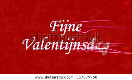 Happy Valentine's Day text in Dutch 'Fijne Valentijnsdag' turns to dust horizontally from right with moving stripes on red background with hearts and roses Stockfoto ©
