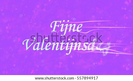 Happy Valentine's Day text in Dutch 'Fijne Valentijnsdag' turns to dust horizontally from right with moving stripes on purple background with hearts and roses Stockfoto ©