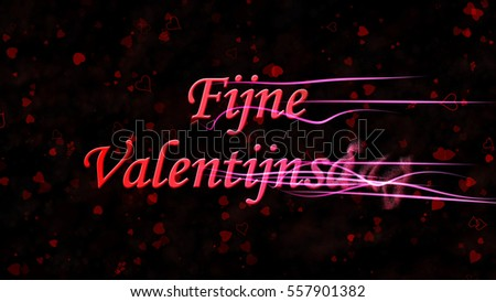 Happy Valentine's Day text in Dutch 'Fijne Valentijnsdag' turns to dust horizontally from right with moving stripes on black background with hearts and roses Stockfoto ©