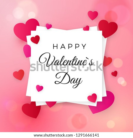 Happy valentines day and wedding design elements. Greeting text on white label on pink background with hearts. Be my Valentine greeting card. illustration #1291666141