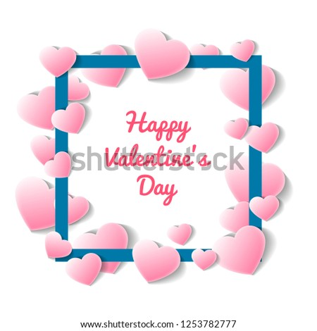 Happy valentines day card with square frame of pink hearts. Romantic love event celebration, elegant wedding invitation. Layout for gift voucher or retail discount proposition illustration #1253782777