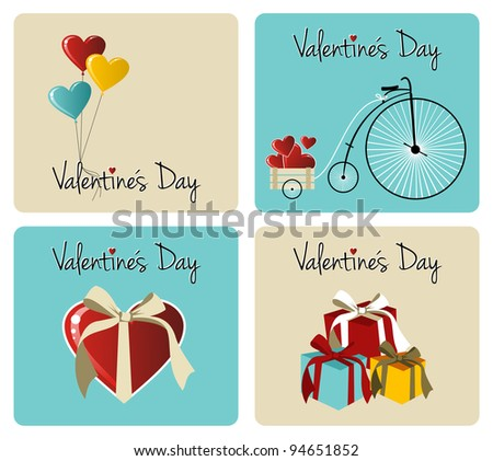 Happy valentines day greeting card retro illustration background set. - stock photo