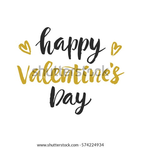 Happy Valentines Day hand drawn brush lettering, isolated on white. Romantic holiday gift card, poster with modern calligraphy. #574224934