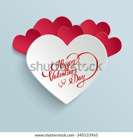 Happy valentines day hand lettering greeting card on 3d heart with happy valentines day hand lettering greeting card on 3d heart with shadow typographical background m4hsunfo