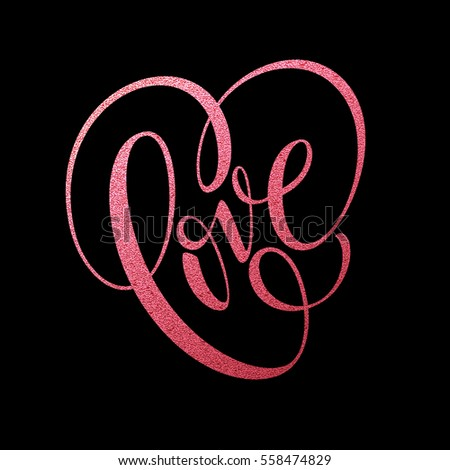 Happy Valentines Day hand lettering, with golden glitter . Vector illustration EPS10 #558474829