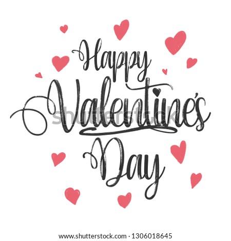 Happy Valentines Day -Handgeschriebener Text auf weißem Hitntergrund #1306018645