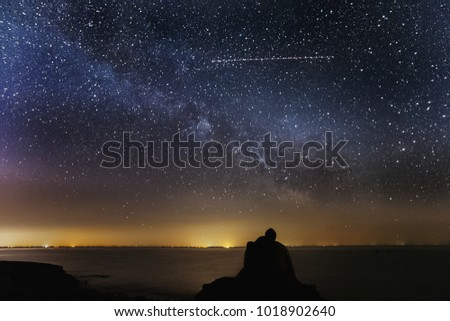 Happy Valentines Day Love Couple Silhouette In The Night With Milky Way And Stars